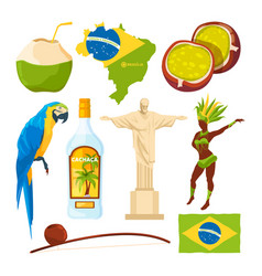 brazilian landmarks and different cultural symbols vector image