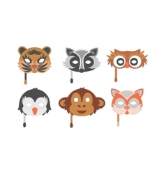 Cartoon animal party mask vector