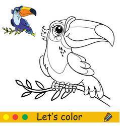 cartoon cute toucan sitting on a liana coloring vector image