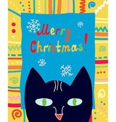 Christmas card with cat and frame vector image
