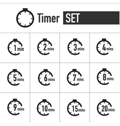 Clock timer icon set form 1 minute to 20 minutes vector