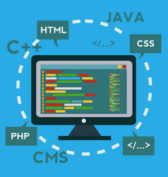 coding and programming app development and vector image