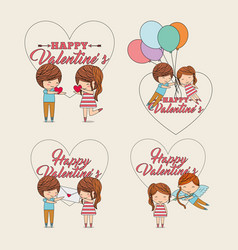 collection happy valentines couple message heart vector image