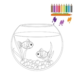 Coloring page Two fishes in the round aquarium vector image