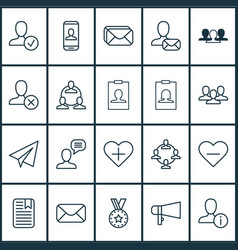 communication icons set with private info reward vector image
