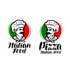 Cook chef logo italian food pizza symbol or vector