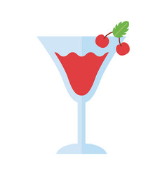 Cup with drink and cherries flat style icon vector