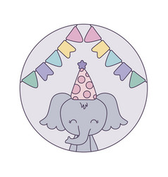 Cute elephant with hat party in frame circular vector