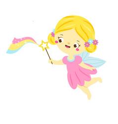 cute fairy flapping magic wand cartoon little vector image