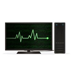 desktop computer with heart rate on screen vector image