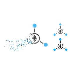 Disintegrating pixel halftone ethereum relations vector