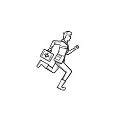 doctor running with first aid kit hand drawn vector image