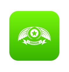 dragon wing icon green vector image