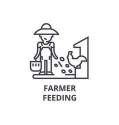 farmer feeding line icon outline sign linear vector image