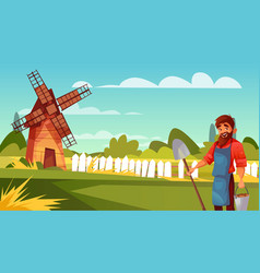 farmer man at farm vector image
