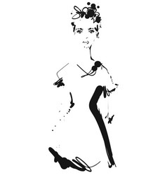 fashion models silhouettes sketch hand drawn vector image