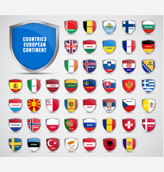 flags of the countries of the european continent vector image