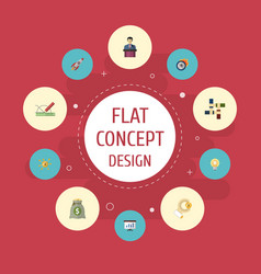 Flat icons design bulb show and other vector