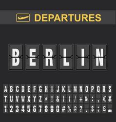 Flight info destination germany flip alphabet vector