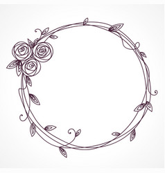 floral frame with bouquet wreath of rose flowers vector image