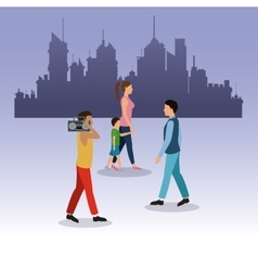Girl boy guy radio walking city background vector