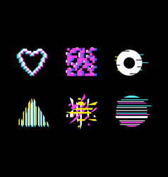 Glitch design icon set on a black background vector
