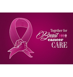 Global breast cancer awareness human hands ribbon vector