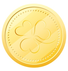 Gold coin with clover Symbol of St Patricks Day vector