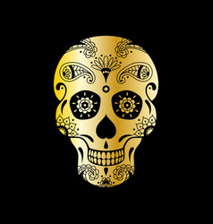 Golden sugar skull with floral pattern vector