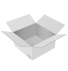 Gray shipping box open carton vector