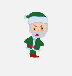 Green santa claus is slightly angry vector