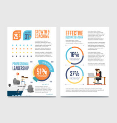 Growth and coaching banner set with chart vector