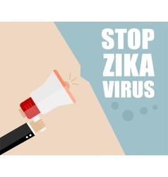 Hand holding megaphone - Attention ZIKA virus vector image