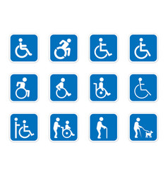 Handicap icons disabled people vector