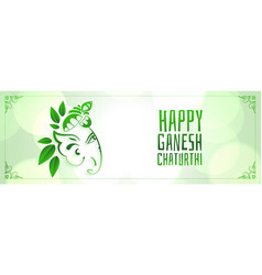 happy ganesh mahotsav festival banner in eco style vector image