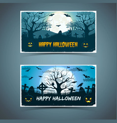 happy halloween banners with old trees vector image