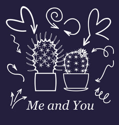 hearts and cactus cute love or friendship cactus vector image
