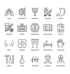 Hospital medical flat line icons human organs vector