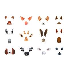 humor animal avatar minimal mask for app set vector image