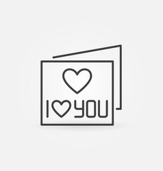 i love you card concept outline icon or vector image