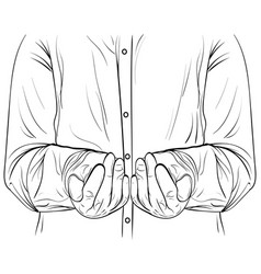 ink sketch men hands hold something vector image