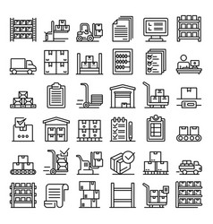 Inventory icons set outline style vector