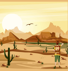 landscape background desert with traveler cacti vector image vector image