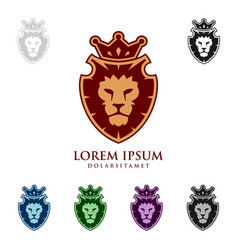 lion king logo design with crown concept vector image