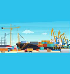 Logistics transportation container ship vector