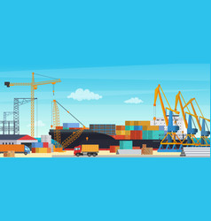Logistics transportationt container ship with vector