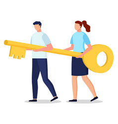 man and woman hold and carry big key partnership vector image