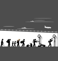 migrants breach border fence vector image