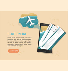 Mobile tickets service on smartphone vector