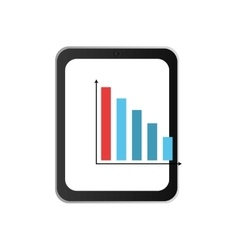 Modern cellphone and bar graph icon vector